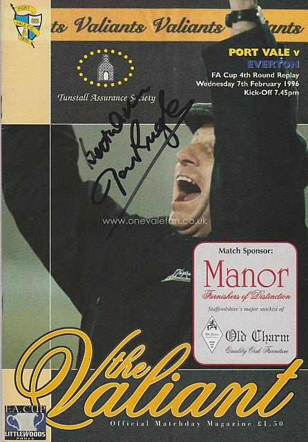 Port Vale v Everton 1996 signed by John Rudge