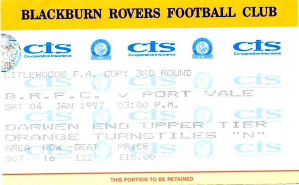 Blackburn Rovers v Port Vale 1997