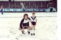 Steve Fox and mascot in the snow 1982-83