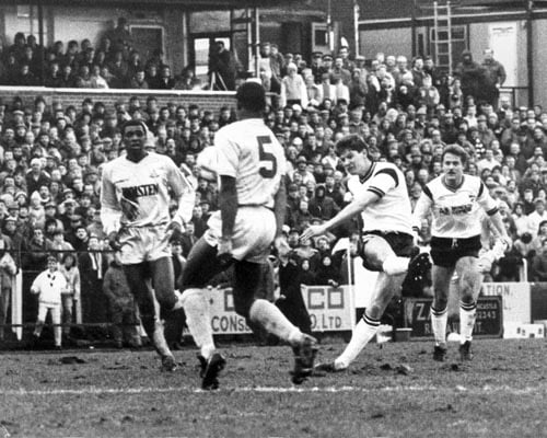Pictured is Ray Walker who scores the first goal in Port Vale's 2-1 FA Cup victory over Spurs in 1988