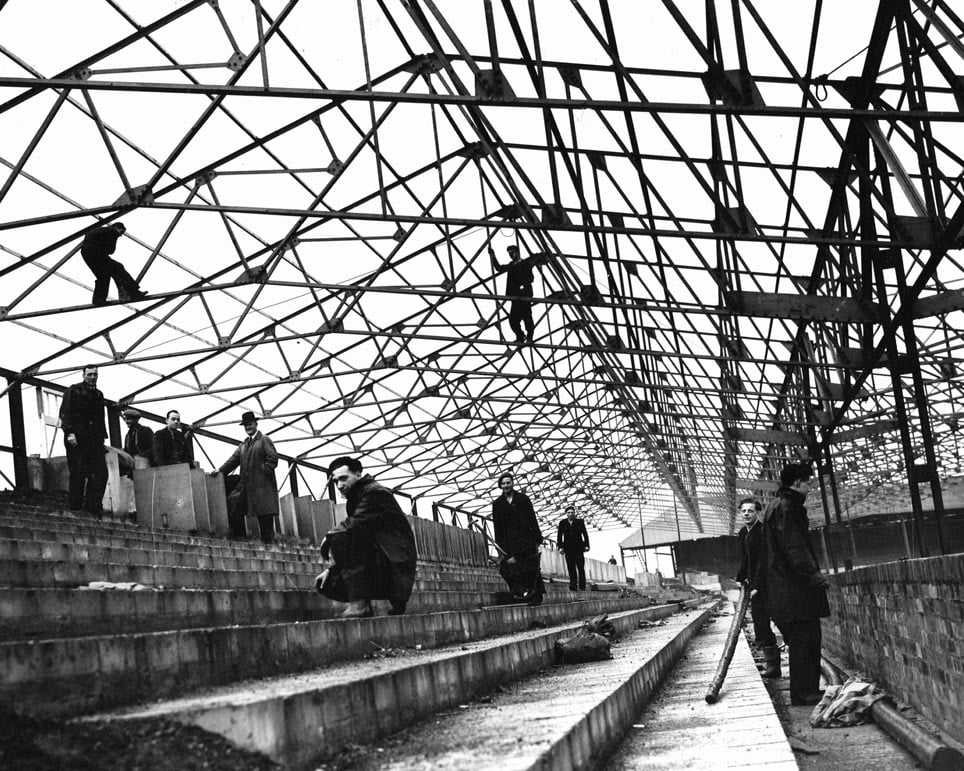 Workers constructing the new stand at Port Vale