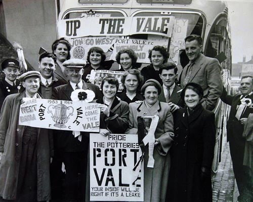 "19-10-07 -- ""Port Vale Tales"" is a project looking to capture the experiences of supporters between the 1950s and 1980s. Organisers are having a series of meeting and are inviting supporters to turn up and tell their stories. The first one is today at Bradeley Village Hall. Family of Albert Leake who played for Port Vale between 1950-61 who had a bus to go to the 1954 semi-final of the cup against West Brom. Reporter. Jess Williams."