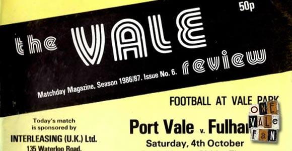 Port Vale v Fulham programme 1986