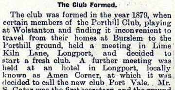 Golden Penny article on Port Vale FC