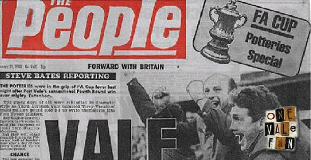 Sunday People - Port Vale beating Spurs front page