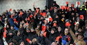 Fans with red cards, Vale Park 2012