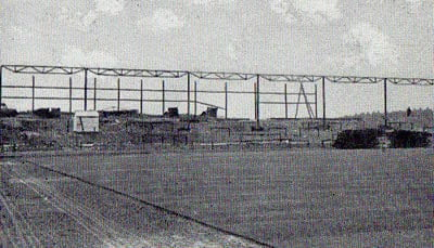 With lack of finances forcing Vale to cut down on their ambitious plans, much of Vale Park was constructed as open terracing. In 1950, after protracted wrangling with the council, the club arranged for the steelwork from the Old Recreation Ground's Swan Passage to be erected on the Bycars terraces.