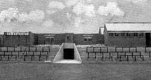 The old players tunnel at Vale Park stadium, 1950