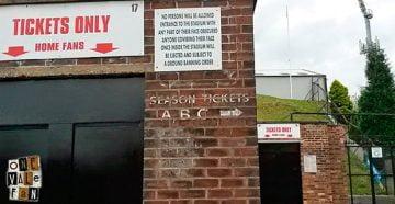 A turnstile at the Vale Park stadium