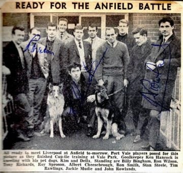 Clipping - Port Vale players prepare to meet Liverpool