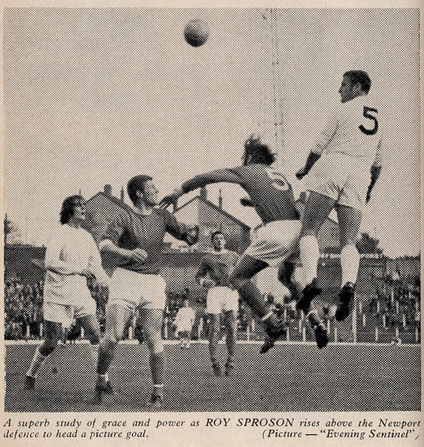 Roy Sproson heads the ball
