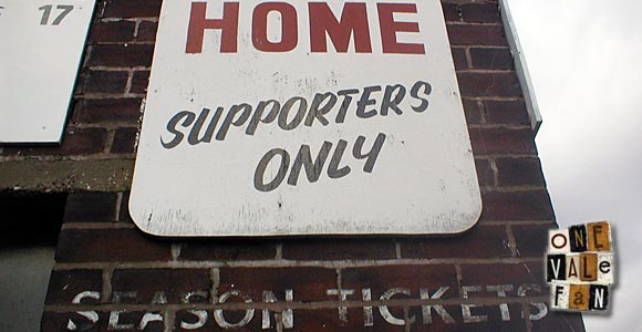 Home Supporters sign, Vale Park stadium