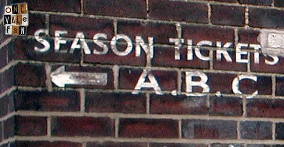 Season tickets sign at Vale Park stadium