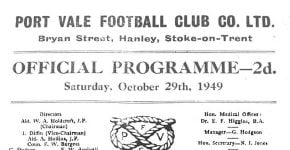 The first-ever Vale Park match programme