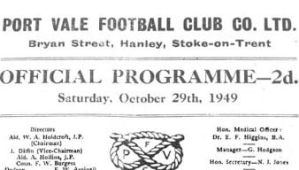 First Vale Park match programme