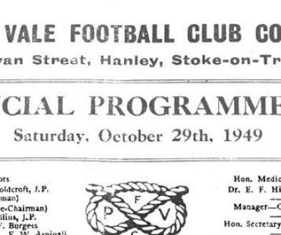 First Vale Park match programme