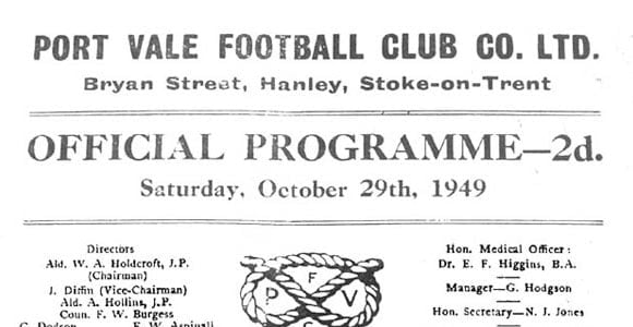 Port Vale v Newport County, 1950, the programme from the first game at Vale Park