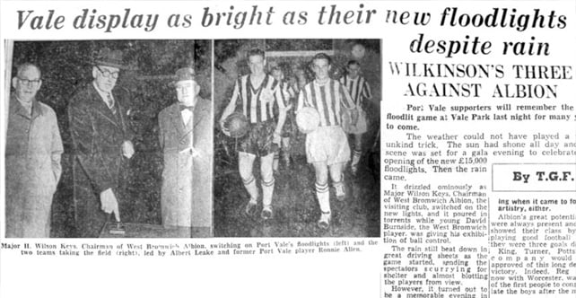 Vale Park's first floodlit game, 1958