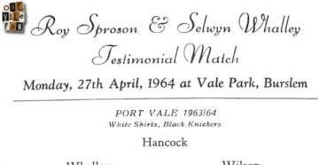 The Roy Sproson and Selwyn Whalley testimonial programme