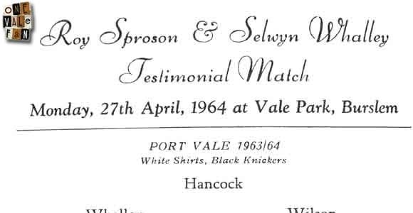 Sproson and Whalley's testimonial, 1964