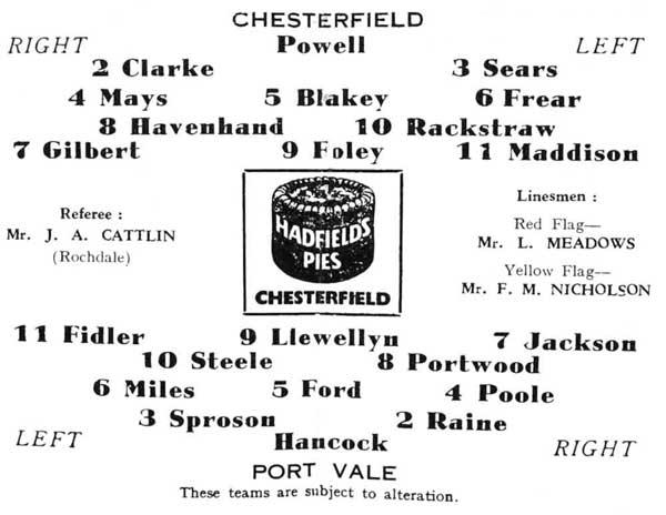 Chesterfield v Port Vale programme 1961