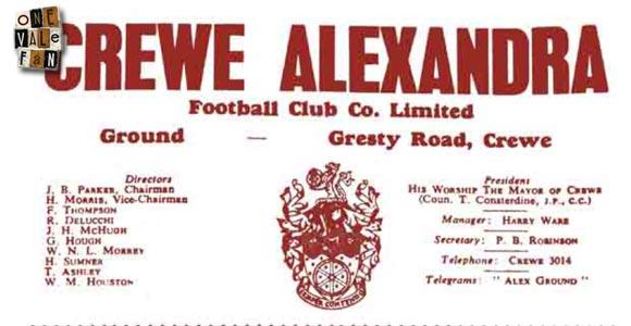 Crewe v Port Vale programme 1959