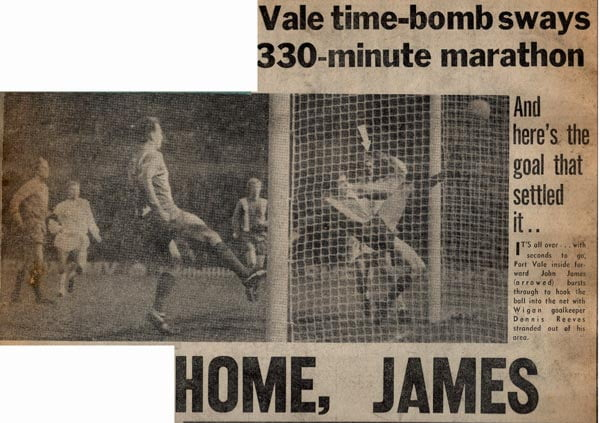 Port Vale's John James in action