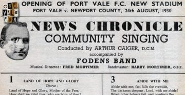 Vale Park opening day songsheet