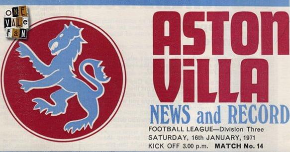 Aston Villa v Port Vale programme, 1971
