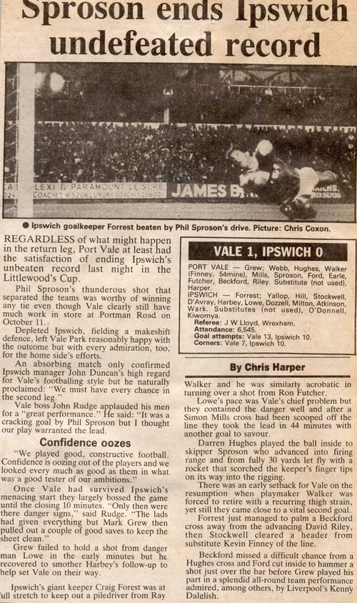 Phil Sproson scores as Vale beat Ipswich