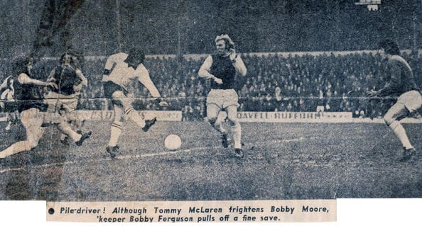 Tommy McLaren in action against West Ham's Bobby Moore