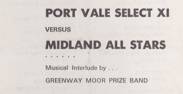 Port Vale Xi v Midlands All-Stars programme 1968