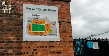 A sign at the Vale Park stadium