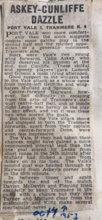 Press Clipping - Askey-Cunliffe Dazzle, Port Vale 2-0 Tranmere Rovers