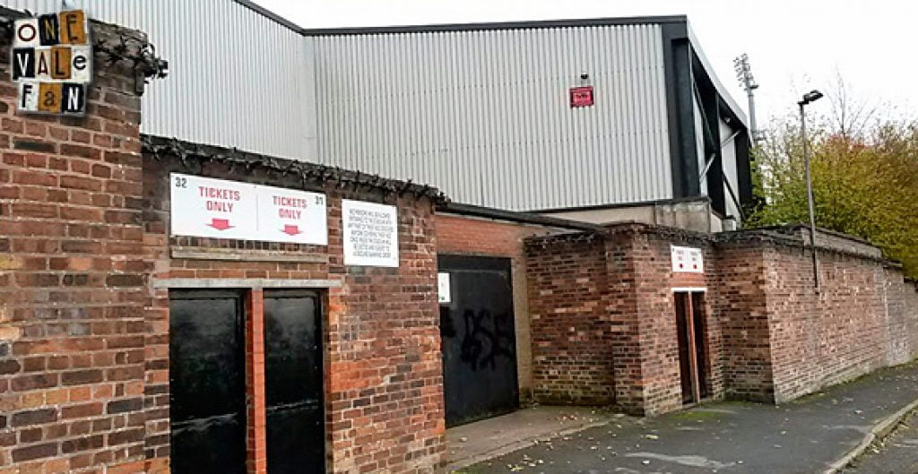 The exterior of the Bycars stand, Vale Park stadium