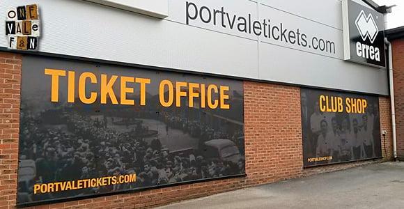 Port Vale FC ticket office at Vale Park stadium