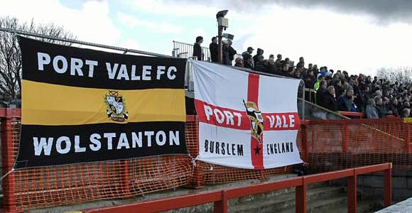 Port Vale flags at Accrington