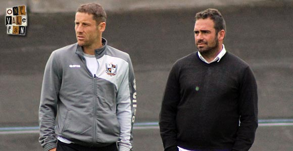 Port Vale manager Bruno Ribeiro and coach Michael Brown