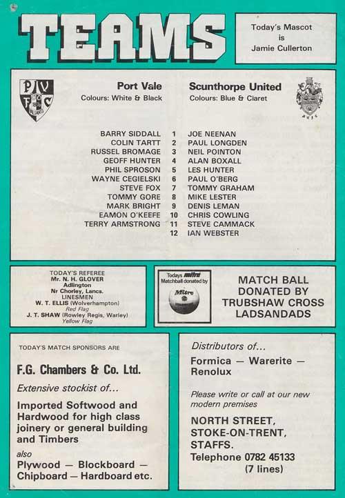 Port Vale v Scunthorpe Utd programme 1984