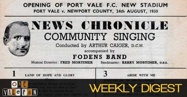 Digest: Vale Park's first game, 66 years ago today…