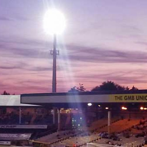 A floodlight at Vale Park stadium