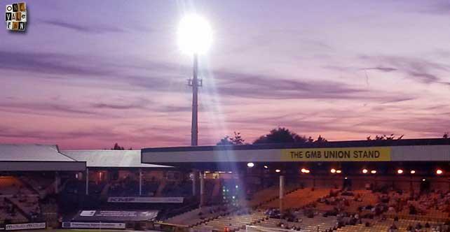 A floodlight at Vale Park stadium