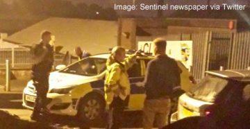 Police at Vale Park stadium - image Sentinel newspaper