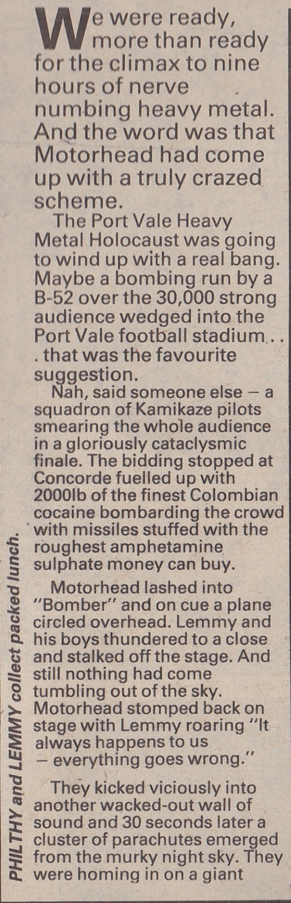 Melody Maker report on the Port Vale Heavymetal Holocaust concert
