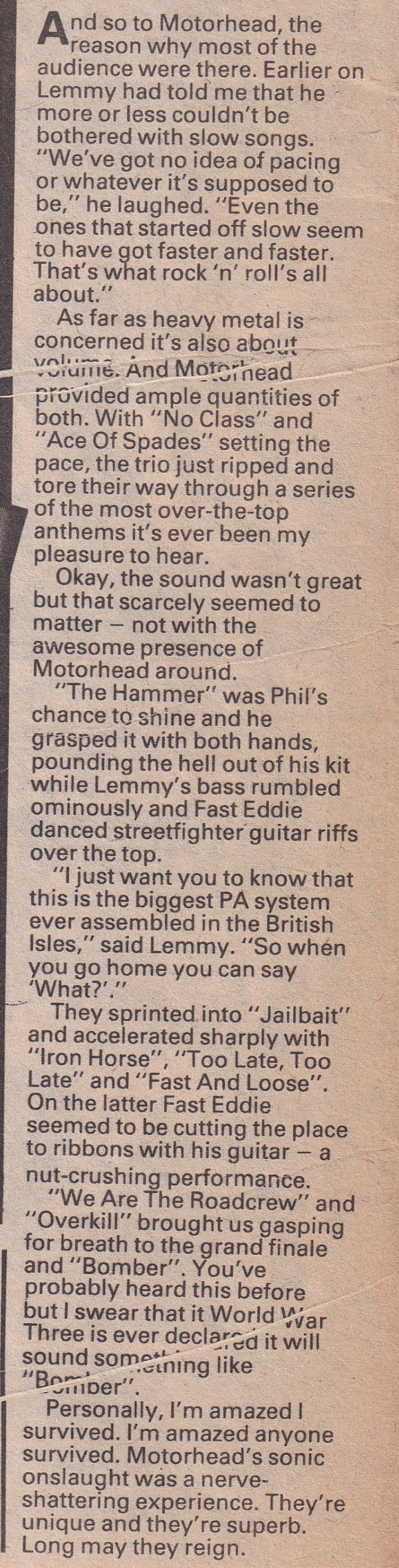 Melody Maker report on the Port Vale Heavymetal Holocaust concer
