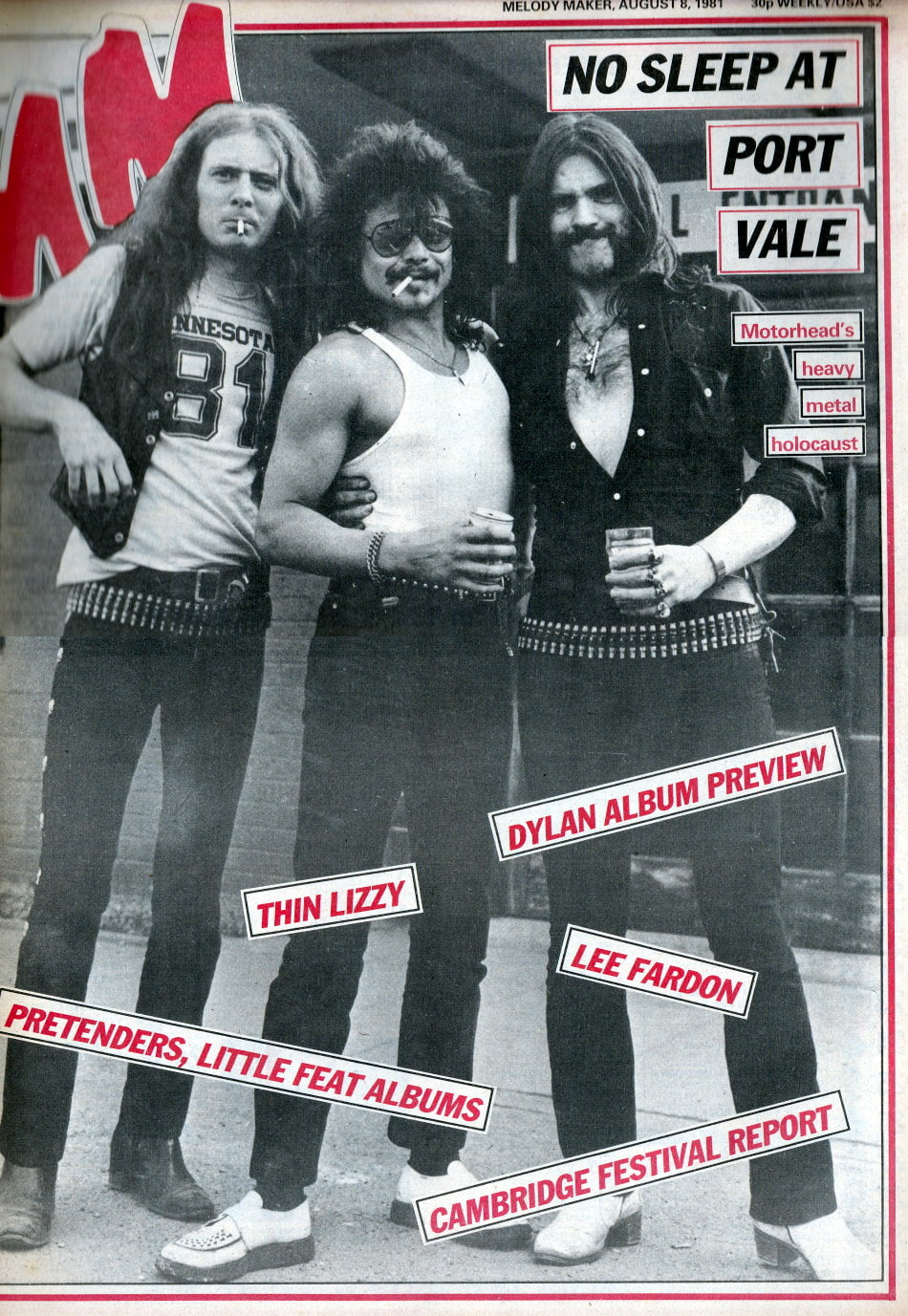 Melody Maker front cover on the Port Vale Heavymetal Holocaust concert