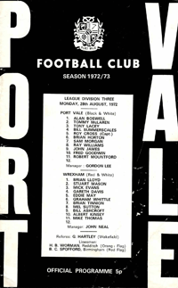 1972 Port Vale matchday programme