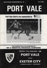 1985 Port Vale programme