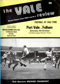 1986 Port Vale programme