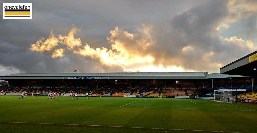 Sunset over Vale Park stadium
